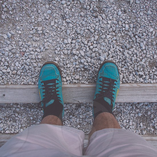 black and blue sneakers photo