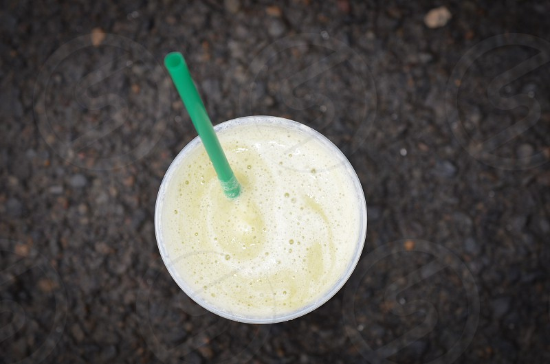 Smoothie protein shake green straw kale spinach banana  photo
