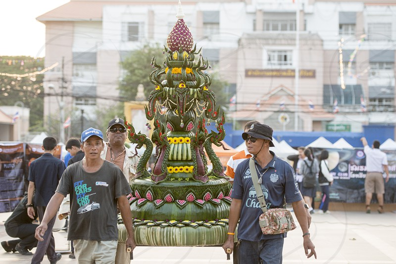 the Loy Krathong festival in the city of Buriram in the province of Buri Ram in Isan in Northeast thailand.  Thailand Buriram November 2017 photo