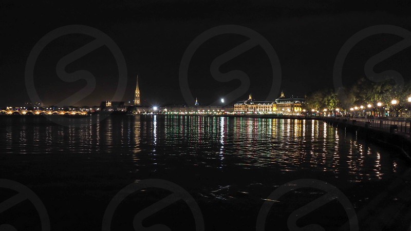 View across the River Garonne in Bordeaux at Night photo
