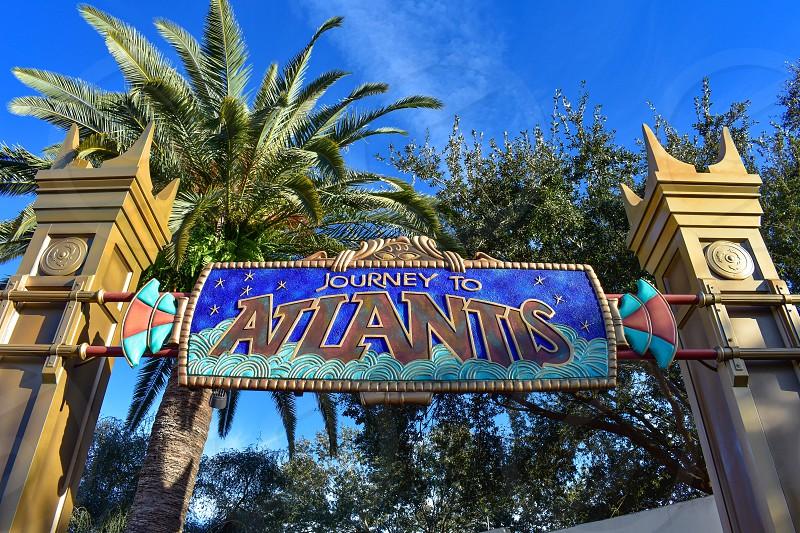 Orlando Florida. December 19 2018. Main entrance of Journey to Atlantis at Seaworld in International Drive area. photo