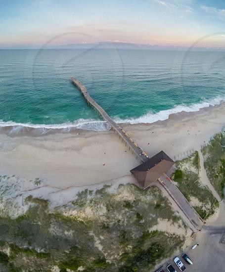 Ocean and beach vertical panorama  photo