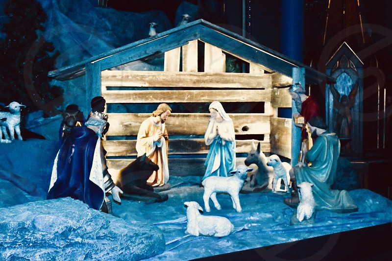 Nativity scene family bibles Catholic spirituality photo