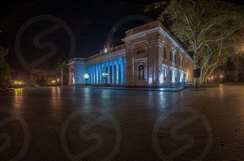 City Hall of Odessa Ukraine at night photo