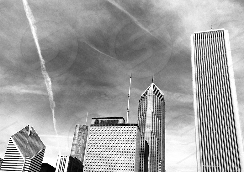 Chicago cityscape. Jet streams. Black and white  photo