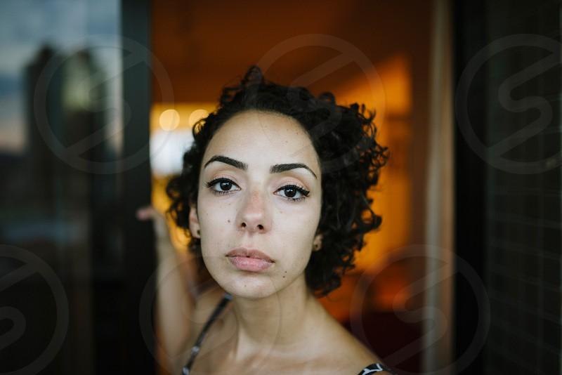 woman girl portrait blurry background orange photo