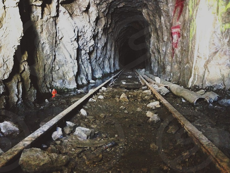 silver metal mine track photo