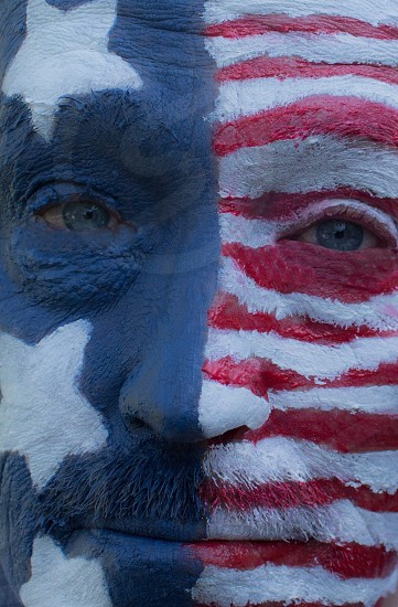 American flagface paintingAmericahuman American Flag photo