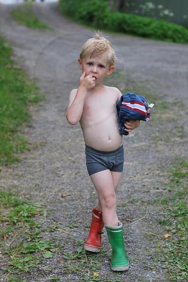 boy in gray shorts photo