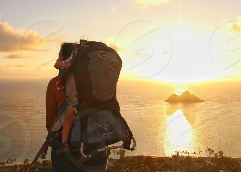 Backpacking Hike Kid Carrier Parenting Adventure Explore Hawaii Oahu photo
