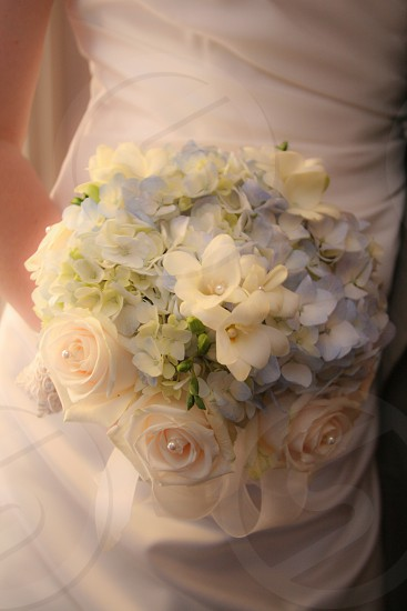 bridal flowers and purple and peach photo