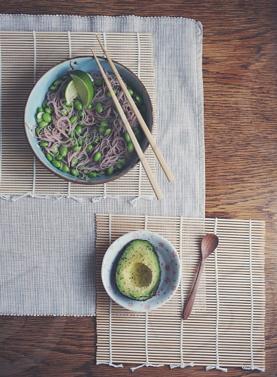 Vegan soba edamame healthy japanese noodles avocado greenfood vegetarian highcarb lowGI  photo