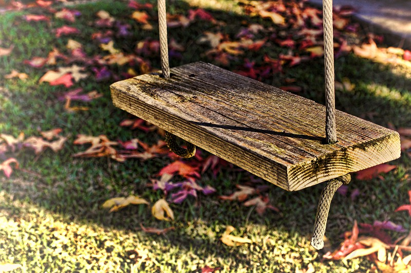 Closeup of the seat and rope of an old fashioned wooden swing. photo