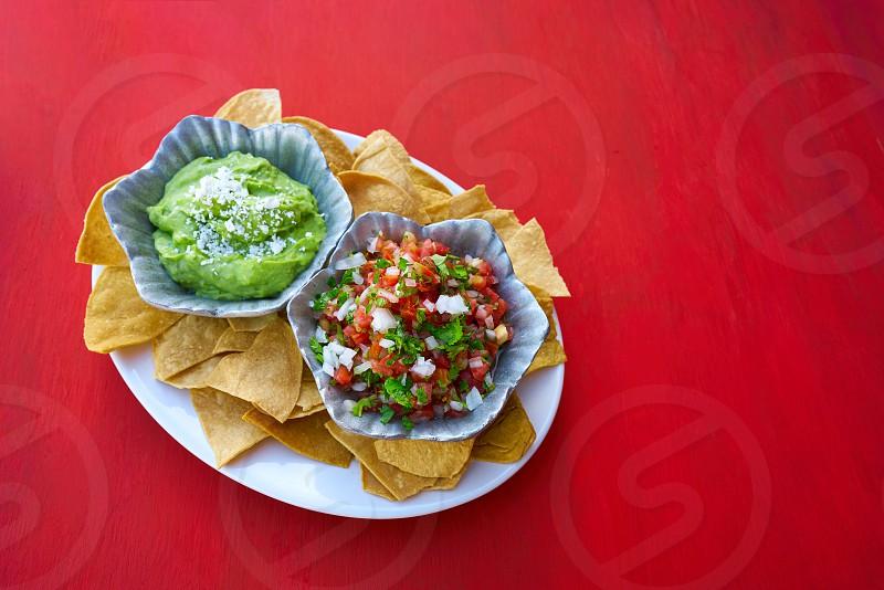 Mexican guacamole and pico de gallo sauces from Mexico photo