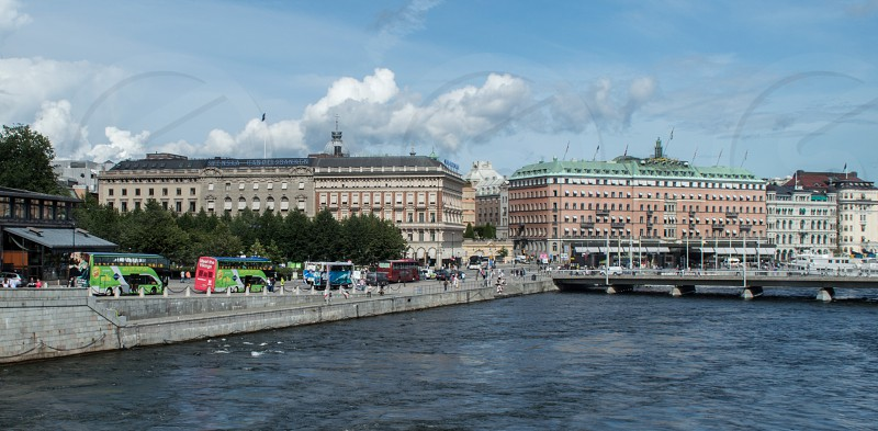 old town at the river in Stockholm Sweden traveling.  photo