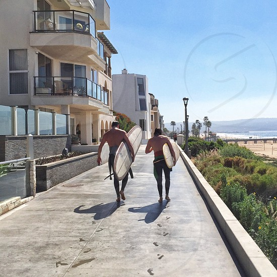 two men carrying white surfing board walking on pathway during daytime photo
