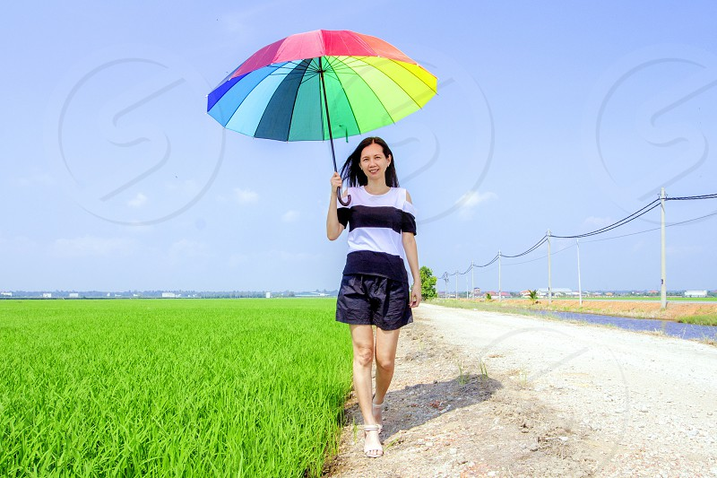 attractive woman holding a vibrant umbrella walking beside a paddy field photo