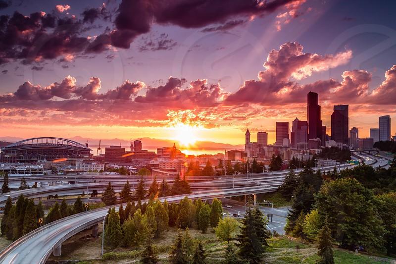 Cityscapes skylines Seattle love wanderlustpacific northwest travel park sunset long exposure photo