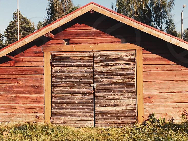 Swedish timber boatshed photo