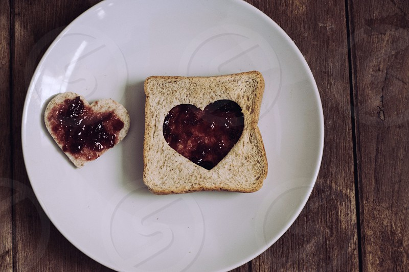 Sandwich bread with heart shape. photo