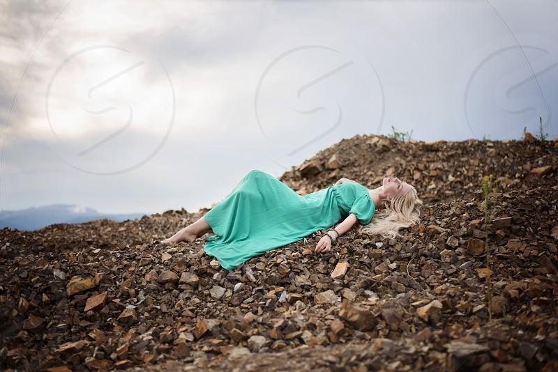 girl woman rocks outdoors dream enjoy freedom beautiful mountain photo