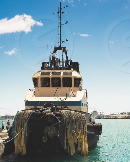 Bahamas boat rope dock  photo