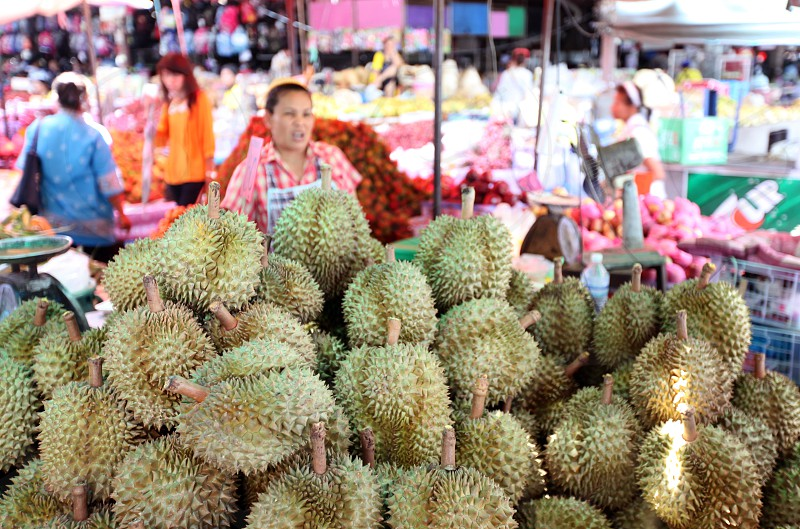 durian fruits atthe market in the city of Amnat Charoen in the Region of Isan in Northeast Thailand in Thailand. photo