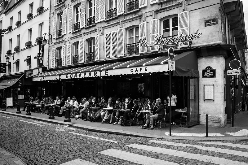 paris france french cafe street sidewalk bonaparte photo