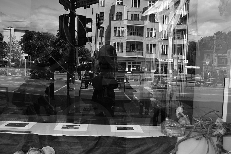 Reflection shop window Greifswalderstr. Berlin photo