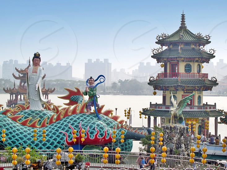 Lotus Pond a man-made lake with numerous temples around the lake and popular tourist destination in Kaohsiung Taiwan photo