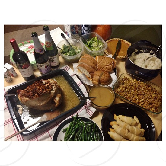 I'm thankful for the beautiful meal the whole family helps make photo