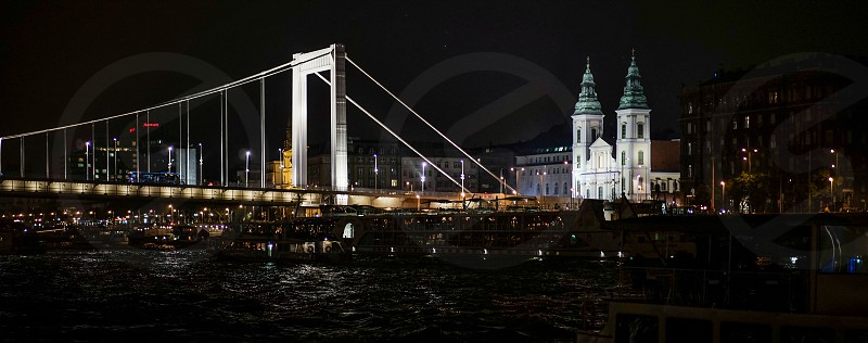 Szent Anna Templom illuminated at night in Budapest photo