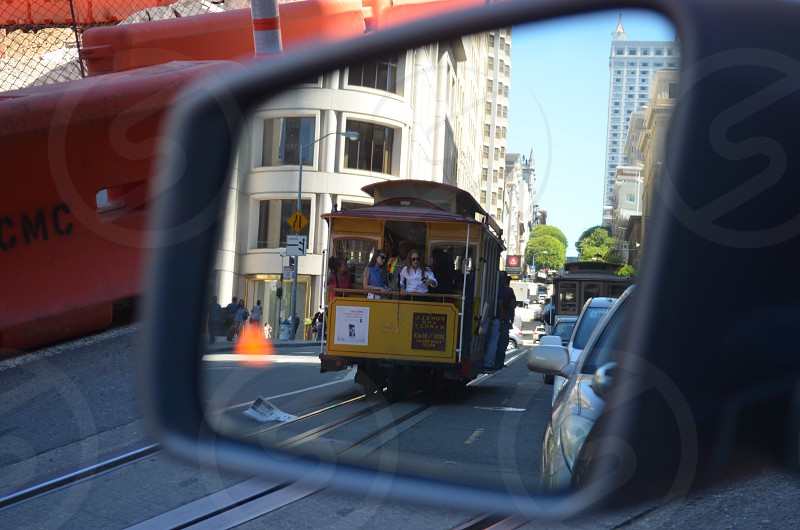 San Francisco trolley in the mirror of a Mercedes GL photo