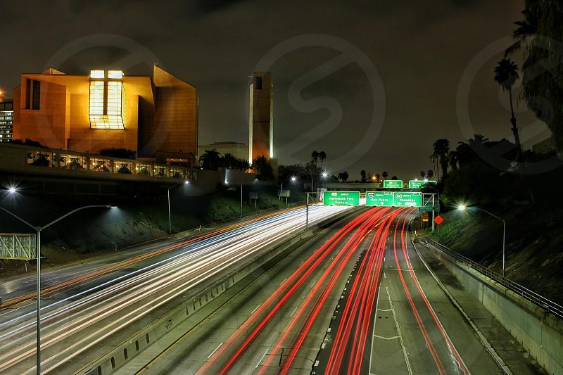 DTLA Los Angeles freeway freeways shutter speed San Pedro Hollywood street signs freeway signs night time urban photo