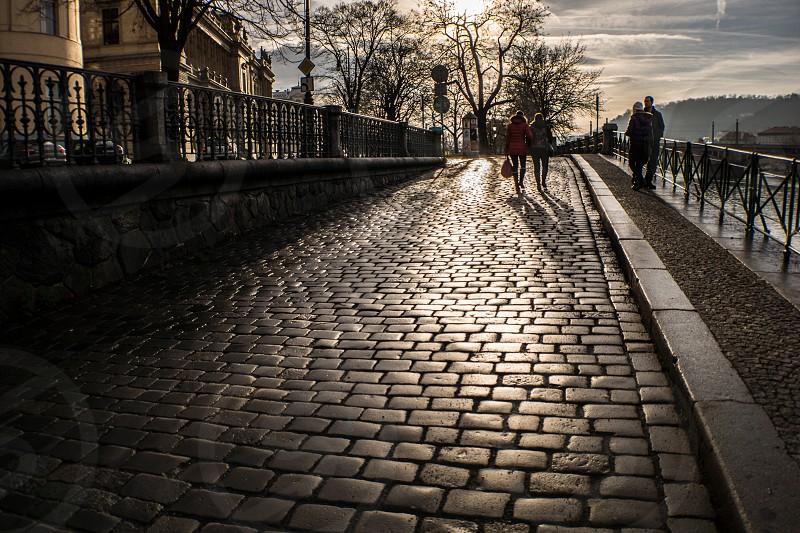 Cobble Stone streets of Prague Czech Republic. photo