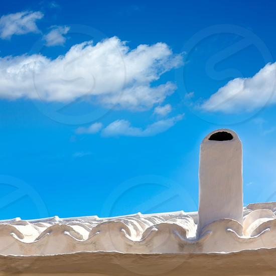 Menorca Es Grau white house chimney detail in Balearic Islands photo