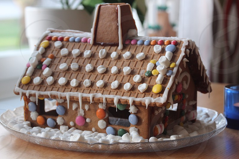 Baking gingerbread house candy marsmallows photo