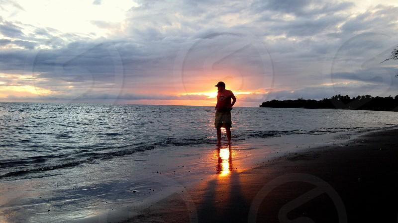 Maui sunset beach crashing waves big beach photo