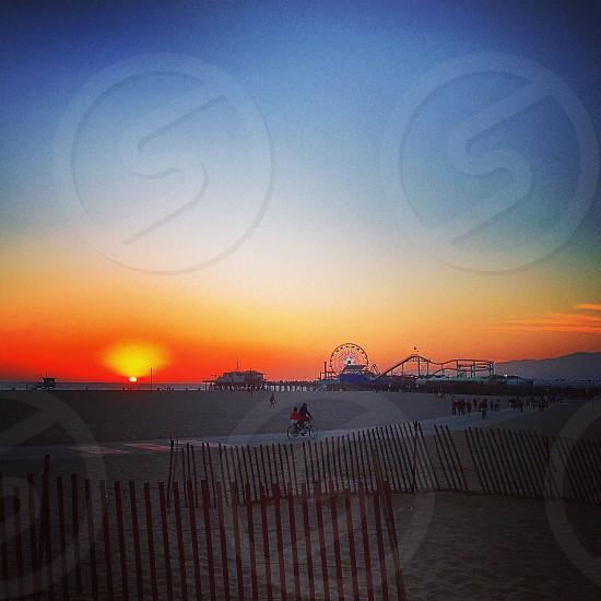 The sunset of the Santa Monica Pier photo