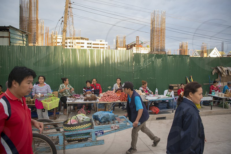 people at the Taalat Sao market in the city of vientiane in Laos in the southeastasia. photo