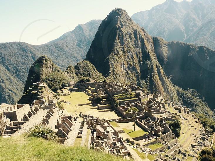 On top of the world in Machu Picchu Peru. photo