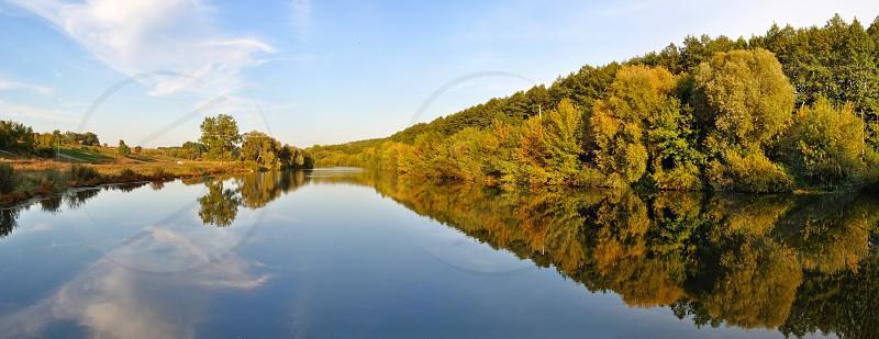 autumn river panorama photo