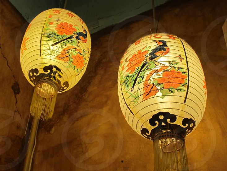 Asian lanterns filled with light (and topped with a little dust too) in some shop in Portland OR. Decorated with a bird and red flowers and golden tassels. photo