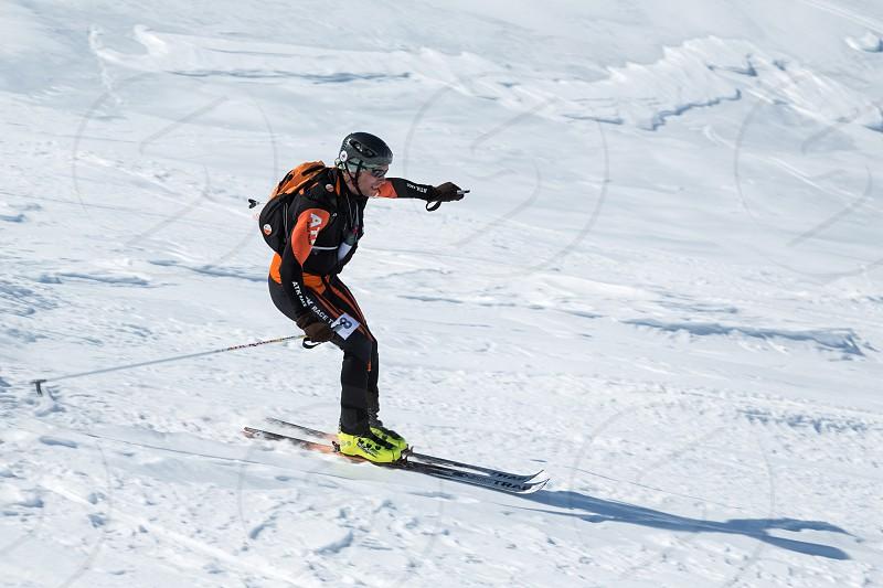 "AVACHA VOLCANO KAMCHATKA RUSSIA - APRIL 26 2014: Individual race. Ski mountaineering Asian Championships Ski mountaineering Russian Championship International competitions ISMF series ""Kamchatka Race"" Ski mountaineering Kamchatka Championship. photo"