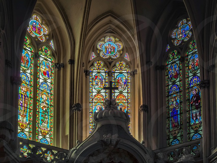 Stained Glass Windows in the Cathedral of St Andrew in Bordeaux photo