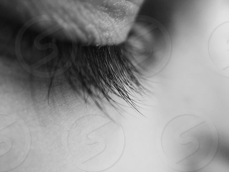 black eyelashes in shallow focus photo