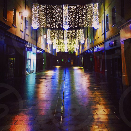 Southgate Bath Christmas 2013. Perfect reflections light and colour.  photo
