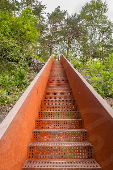 Corrugated rusty iron stairs to woodland. photo