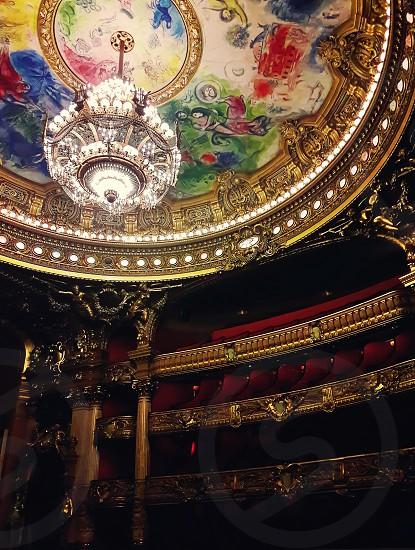 Auditorium inside of the Palace Opera Garnier in Paris France. photo