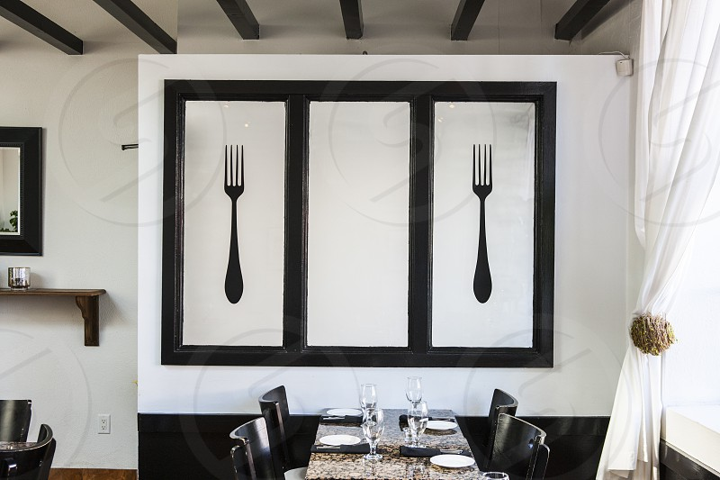 black and white fork wall decor photo